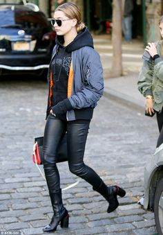 Twinning! Kendall's pal Hailey, 19, wore a similar look, leather and a hoodie