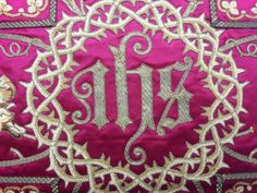 Antique French Vestment IHS & Gold Damask Embroidered Panel | eBay