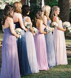 different shades of purple/lavendar long dresses