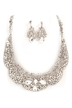 Collier Crystal Statement Necklace Set in Silver Shimmer