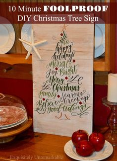 10 Minute Foolproof DIY Christmas Tree Sign DIY