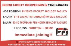 🎯Urgent Faculty Job Openings in #YamunaNagar Job Position: #PhysicsFaculty, #BiologyFaculty Salary:- 8-14 lacks per annum(Physics Faculty) Salary:- 60-80k per month(Biology Faculty) Process :- Written + Demo Immediate joining!!!  @Faculty_PS  pvt ltd. Reputed & Certified #NationalLevelBrandCoachingInstitute Interested Candidates, Call Us at 97289-87999/87289-87999 Faculty Placement Services => 100% Job Security/Salary Security