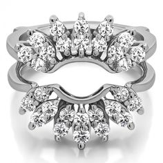 Double Row Halo Sunburst Ring Guard (0.98 Carat) - Ring Guards