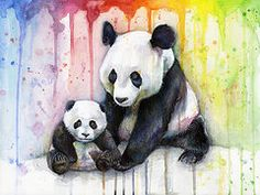 Panda Watercolor Mom and Baby by Olga Shvartsur