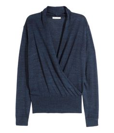 Long-sleeved fine-knit jumper in a cotton blend with a small shawl collar and wraparound, softly draped front section.