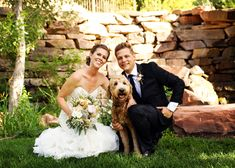 Blush mountain wedding at Louland Falls | Bride Groom and Doggy Portrait | Logan Walker Photography - see more at http;//fabyoubliss.com