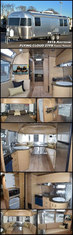 This 2016 27FB FLYING CLOUD travel trailer by AIRSTREAM has a front queen bedroom with a rear dinette. The bathroom area offers a private toilet area with a sink, cabinets, toilet, and mirrors. Next to the shower you will find a large wardrobe which provides additional storage space for clothing, shoes, hats, storage and more. The front bedroom greets you with a queen bed and nightstands on either side of the bed, overhead cabinets, under bed storage, and a wall mounted flat screen TV.