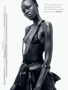 """thefashionbubble: """"The future of fashion is more dark skinned girls, because that's what's missing among the supermodel stars."""" - Grace Bol Grace Bol in """"The Right Face at the Right Time"""" for i-D Magazine Pre-Spring ph. by Daniel Jackson. Daniel Jackson, Drake, High Fashion Models, Fashion Blogs, V Magazine, Mode Editorials, Fashion Editorials, My Black Is Beautiful, Monochrom"""