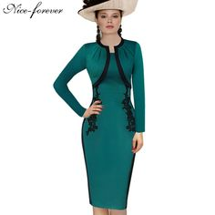 Nice-forever Elegant Vintage Gorgeous Sheath Dress Appliques Patchwork Fitted Full Sleeve Business Turquoise Pencil Dress b247