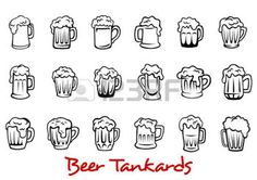 beer mug: Outline pint tankards set of frothy beer isolated on white background, suitable for pub, Oktoberfest and bar design