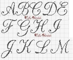 Ashley Embroidery: Monograms I did! Crochet Alphabet, Cross Stitch Alphabet Patterns, Cross Stitch Letters, Cross Stitch Borders, Cross Stitching, Cross Stitch Embroidery, Stitch Patterns, Plastic Canvas Letters, Wedding Cross Stitch