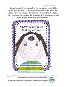 Ash Wednesday for children kids. Portrait of with ashes on forehead. Read, explain, color.