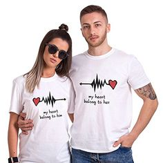 Couple Shirt for Woman Man Lover Cotton Lover Tees Shirts 2 Pcs Logo T-Shirt Heart Print Short Sleeve Tops Valentine's Day Birthday C: Couple Shirt for Wom Shirt Design Maker, Couple Shirt Design, Impression Sur Tee Shirt, Casual Shirts, Tee Shirts, T-shirt Logo, Couple Shirts, T Shirts For Women, Clothes For Women