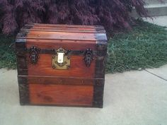 Small-Mid Size Roll Top Wooden Antique Trunk
