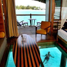 Overwater Bungalow with glass floors...Ooh La La! Le Meridien Bora Bora, French Polynesia