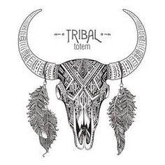 ... illustration of bull skull with feathers. vector art illustration