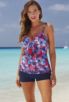 d75ed83f79f77 Shortinis - Shore Club Crayons Tie-Front Underwire Boy Shortini Tankini  With Shorts