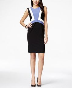 743aa6feb4add Nine West Sleeveless Colorblocked Sheath Dress & Reviews - Dresses - Women  - Macy's