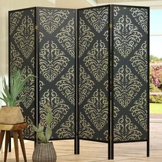 World Menagerie Elayna 4 Panel Room Divider Wooden Room Dividers, Portable Room Dividers, Folding Room Dividers, 4 Panel Room Divider, Diy Room Divider, Divider Screen, Red And Black Bedding, Shoji Screen, Lantern Designs