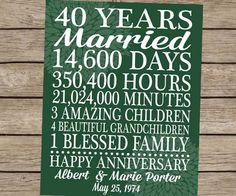 Wedding Anniversary Gifts For Parents 40 Years : Anniversary Gift Print Custom Personalized Love Story Poster Print ...