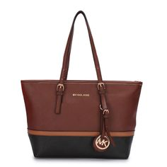 #FashionBag Big Discount Michael Kors Jet Set Travel Large Coffee Totes With Top Material Online Sale For You!