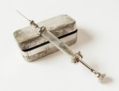 Antique hypodermic syringe in original box 1940s  by SovietEra, $20.00