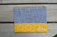 Zipper pouch - blue chambray & yellow