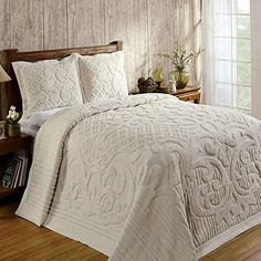 Better Trends Ashton Collection in Medallion Design Cotton Tufted Chenille Bedspreads & Shams (Queen Bedspread - Ivory) Chenille Bedspread, Quilted Bedspreads, Linen Bedroom, Bed Sizes, Bed Spreads, 1 Piece, Decoration, Comforters, Shabby Chic