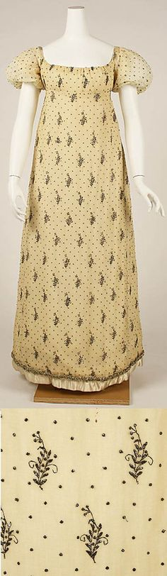 Cream muslin dress embroidered with metallic thread. Detail of embroidery. 1805-10 Met Museum