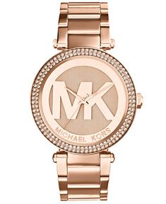 Michael Kors Women's Parker Rose Gold-Tone Stainless Steel Bracelet Watch 33mm