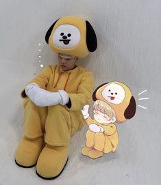 Twitter Chibi Dog, Bts Chibi, Bts Bg, Taehyung, Bts Lockscreen, Album Bts, Bts Group, Kpop, Cartoon Wallpaper