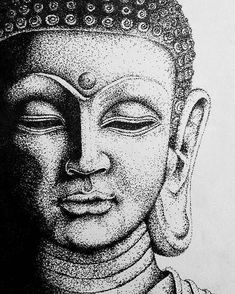 Dotted Drawings, Dark Art Drawings, Art Drawings Sketches Simple, Drawing Faces, Realistic Drawings, Drawing Tips, Stippling Drawing, Buddha Kunst, Buddha Drawing