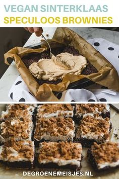 Onze Sinterklaas brownies. De perfecte manier om dit jaar vegan Sinterklaas te vieren. Recept voor Brownies met speculoos frosting en kruidnoten on top. 100% vegan. De brownie is een beetje krokant, de frosting is smeuïg en romig en dan die kruidnotencrunch on top…