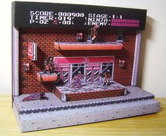 Ninja Gaiden Diorama: The Classic Game On Papercraft Video Game Rooms, Video Game Art, Animation Pixel, Pixel Art, Ninja Gaiden, 8 Bits, 8bit Art, Gamer Room, Game Room Decor