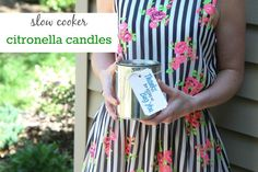 """DIY Slow Cooker Citronella Candles with FREE """"Thanks For Letting Us Bug You,"""" printable for a fun summer hostess gift."""