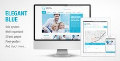 Elegant Blue - Responsive Business PSD template by ThuanAnh The responsive template has a clear and nice layout and suitable for many kinds of content. 1. The PSD were made in Adobe Photoshop CS5 and should run in any other Photoshop version. 2. There are 20 psd files included, all of whic