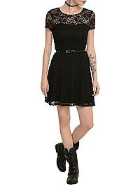 HOTTOPIC.COM - Black Lace Belted Dress