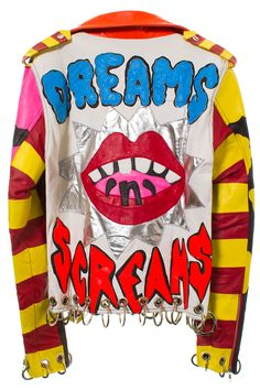 DISCOUNT UNIVERSE DREAMS N SCREAMS BIKER JACKET Leather jacket featuring Dreams N Screams design on back, striped belt, ring embellishments on hem, zip up closure and watercolor lining. 100% leather. SIZE & FIT Women's sizing. Fits true to size. DISCOUNT UNIVERSE Discount Universe is a Melbourne-based label from Aussie duo Cami James and Nadia Napreychikov. Their bright, hand-embellished pieces that pack a punch with sequins, gems, and cartoon-like graphics have won them legions of loyal…