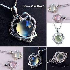EverMaker Beautiful natural prehnite gemstones 925 silver heart shape necklace ,your style