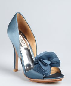 Badgley Mischka blue satin 'Randall' rosette open toe pumps | BLUEFLY up to 70% off designer brands