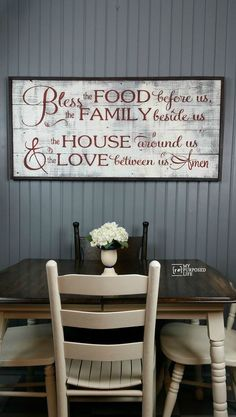 bless the food before us Rustic Sign MyRepurposedLife.com  I LOVE the colors and this is made out of fence boards!