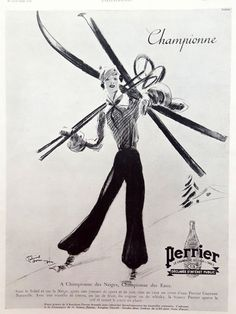 PERRIER mineral water original art deco ad, ski poster lady skiing, 1936 vintage French advertising, illustration by Jean Gabriel Domergue by OldMag on Etsy Vintage Ski, Vintage Winter, Vintage Prints, French Vintage, Vintage Christmas, Ski Magazine, Male Magazine, Ski Drawing, Skiing Images