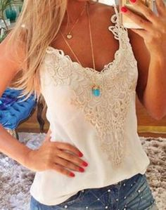 Love Love Love this Lace Tank Top! Great Top to wear with Layered Necklaces! Sexy White Lace Spaghetti Strap Sleeveless Spliced Solid Color Women's Tank Top #Sexy #White #Lace #Tank #Top #Summer #Fashion