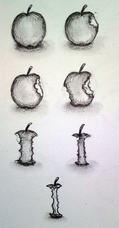 Image result for timelapse eating apple drawing
