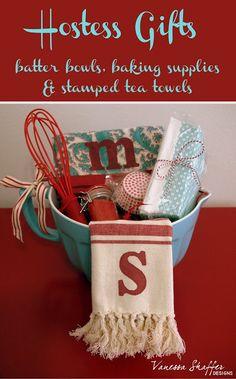 Vanessa Shaffer Designs: Hostess Gift Idea & Stamped Tea Towel Tutorial