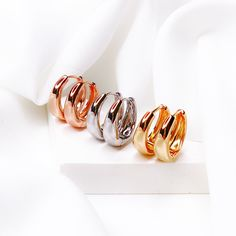 Rose Gold Silver Hoop Earrings Chunky 18k Gold Earring Set Hypoallergenic Earrings Hoops Silver Hoops Small Gold Filled Hoops Gift For Her 18k Gold Earrings, Silver Hoop Earrings, Unique Gifts For Her, Silver Hoops, Earring Set, Rose Gold, Unique Jewelry, Accessories, Etsy