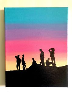 """BTS """"Love Yourself"""" & """"Sunset Silhouette"""" acrylic paintings – Hand-painted on canvas - Malerei Kunst Small Canvas Art, Mini Canvas Art, Kpop Drawings, Art Drawings Sketches Simple, Silhouette Painting, Sunset Silhouette, Easy Paintings, Acrylic Paintings, Sunset Acrylic Painting"""