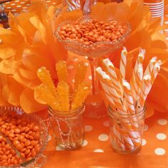 Sweet Girl's favorite color is orange, so this would be the PERFECT bday party theme! Orange Party, Orange Birthday Parties, Yellow Birthday, Orange Wedding, Cake Birthday, Unicorn Birthday, Orange Aesthetic, Rainbow Aesthetic, Aesthetic Colors