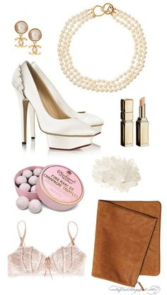 We love the Kenneth Jay Lane 1980's vintage faux pearl necklace on this board - a very feminine touch