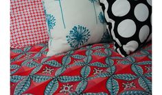 fabrics and patterns in girls teen bedroom featuring Michael Miller fabrics and Tonic Living pillows